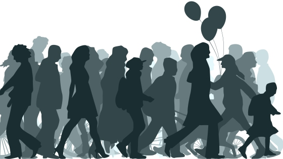 Horizontal vector illustration crowd of unknown people coming.